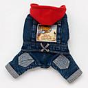 billiga Hundkläder-Hund Huvtröjor Jeansjackor Hundkläder Blå Kostym Bulldogg Shiba Inu Mops Cotton Jeans Cowboy S M L XL XXL