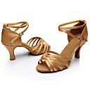 Χαμηλού Κόστους Παπούτσια χορού λάτιν-Γυναικεία Παπούτσια Χορού Σατέν Παπούτσια χορού λάτιν / Παπούτσια σάλσα / Παπούτσια σάμπα Αγκράφα Πέδιλα Προσαρμοσμένο τακούνι Εξατομικευμένο Ασημί / Καφέ / Χρυσό / Εσωτερικό / Δέρμα