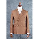 billiga Kostymer-Brun Rutigt / gingham Skräddarsydd passform Bomullsblandning Kostym - Trubbig Double Breasted Four-button