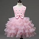 billiga Flickklänningar-Barn Flickor Ljuv Prinsessa Party Födelsedag Festival Enfärgad Spets Rosett Multi lager Ärmlös Klänning Röd