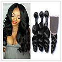 baratos Um pacote de cabelo-Trama do cabelo com Encerramento Cabelo Peruviano Ondulação Larga 4 Peças tece cabelo