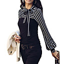 Χαμηλού Κόστους Ρούχα τρεξίματος-Γυναικεία Μεγάλα Μεγέθη Μπλούζα Βασικό Ριγέ, Φανάρι μανίκι Όρθιος Γιακάς Φιόγκος Πράσινο / πρόστιμο Stripe