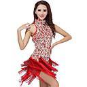 povoljno Odjeća za latino plesove-Latino ples Haljine Žene Seksi blagdanski kostimi Poliester / Sa šljokicama S resicama Haljina / Latin Dance / Samba