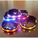 olcso Nyakörvek és pórázok-Kutya Gallérok LED fények Állítható / Behúzható Textil Műanyag Kék Rózsaszín Szivárvány