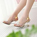 baratos Caixas de Som-Mulheres Calcanhares Heel translúcido / Salto Plataforma Cristais Courino Lucite Heel Primavera / Verão / Outono Dourado / Prata / EU42