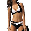 billiga Dykmasker, snorklar och simfötter-Dam Halterneck Svart Mörkblå Lila Kaxig Bikini Badkläder - Färgblock XL XXL XXXL Svart / Bygelbehå