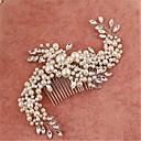 baratos Bouquets de Noiva-Imitação de Pérola Zircônia Cubica Liga Pentes de Cabelo Capacete