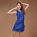 Χαμηλού Κόστους Ρούχα χορού λάτιν-Λάτιν Χοροί Φορέματα Γυναικεία Επίδοση Πολυεστέρας Φούντα Αμάνικο Φόρεμα / Λατινικοί Χοροί