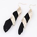 Χαμηλού Κόστους Περούκες από Ανθρώπινη Τρίχα-Γυναικεία Κρεμαστά Σκουλαρίκια Leaf Shape Φτερό Εξατομικευόμενο Ευρωπαϊκό Μοντέρνα Φτερό Σκουλαρίκια Κοσμήματα Μαύρο / Βυσσινί / Κόκκινο Για Καθημερινά Causal