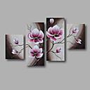 billiga Abstrakta målningar-Hang målad oljemålning HANDMÅLAD - Blommig / Botanisk Moderna Inkludera innerram / Fyra paneler / Sträckt kanfas