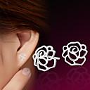 billiga Modeörhängen-Dam Dubb Örhängen Blomma damer Sterlingsilver Silver örhängen Smycken Till Bröllop Party Dagligen Casual Sport