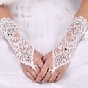 billiga Modeörhängen-Elastisk satäng / Siden Armbågslängd Handske Brudhandske Med Rosett