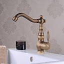 ราคาถูก ก๊อกอ่างล้างหน้าในห้องน้ำ-ก๊อกน้ำอ่างล้างจานห้องน้ำ - น้ำตก ทองเหลือง ตัวเจาะนำศูนย์ จับเดี่ยวหนึ่งหลุมBath Taps