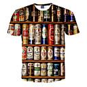 billiga Triathlon-kläder-Tryck, 3D T-shirt - Aktiv Herr Rund hals Vit / Kortärmad / Sommar