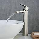 ราคาถูก ก๊อกอ่างล้างหน้าในห้องน้ำ-ก๊อกน้ำอ่างล้างจานห้องน้ำ - น้ำตก Nickel Brushed ตัวเจาะนำศูนย์ จับเดี่ยวหนึ่งหลุมBath Taps