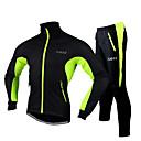 Χαμηλού Κόστους Γαντια Ποδηλασίας-FJQXZ Ανδρικά Μπουφάν και παντελόνι ποδηλασίας Ποδήλατο Σακάκι / Φόρμα / Σετ Ρούχων Αδιάβροχη, Αντανακλαστικές Λωρίδες Συμπαγές Χρώμα Προβιά Χειμώνας Κόκκινο / Πράσινο / Μπλε Ποδηλασία Δρόμου