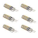 billige Målere og detektorer-6pcs 1.5 W LED-kornpærer 100-120 lm G4 T 24 LED perler SMD 3014 Mulighet for demping Varm hvit Kjølig hvit 12 V / 6 stk. / RoHs
