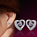 billiga Modeörhängen-Dam Dubb Örhängen Hjärta damer Sterlingsilver Silver örhängen Smycken Till Bröllop Party Dagligen Casual Sport