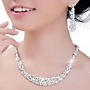 ราคาถูก ชุดเครื่องประดับ-สำหรับผู้หญิง คริสตัล ชุดเครื่องประดับ Silver ต่างหู เครื่องประดับ เงิน สำหรับ งานแต่งงาน ปาร์ตี้ วันครบรอบ การหมั้น
