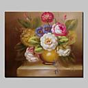 זול אומנות ממוסגרת-ציור שמן צבוע-Hang מצויר ביד - פרחוני / בוטני קלסי כלול מסגרת פנימית / בד מתוח