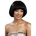 Χαμηλού Κόστους Συνθετικές περούκες χωρίς σκουφί-Συνθετικές Περούκες Ίσιο Ίσια Κούρεμα καρέ Με αφέλειες Περούκα Κοντό Μαύρο Συνθετικά μαλλιά Γυναικεία Μαύρο