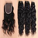 billiga Fotmassage-3 paket med stängning Brasilianskt hår Obehandlad hår Hår Inslag med Stängning 10-28 tum Hårförlängning av äkta hår Människohår förlängningar