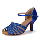ราคาถูก รองเท้าแบบลาติน-สำหรับผู้หญิง รองเท้าเต้นรำ เลื่อม / ซาติน ลาติน / Salsa หินประกาย / หัวเข็มขัด / ฮอลโล่ออก รองเท้าแตะ / ส้น / รองเท้าผ้าใบ ส้นป้าน ตัดเฉพาะได้ แดง / น้ำเงิน / ทอง / Performance / หนังสัตว์ / EU40