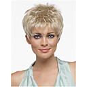 billiga Speldosor-Syntetiska peruker Rak Rak Pixie-frisyr Med lugg Peruk Blond Korta Blond Syntetiskt hår Dam Med Bangs Blond StrongBeauty