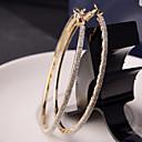 billiga Modeörhängen-Dam Ringformade Örhängen Machete damer Mode Elegant Bling bling Italienska För vardagsbruk örhängen Smycken Brun / Silver Till Bröllop Party Dagligen Casual