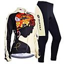 billiga Set med cykeltröjor och shorts/byxor-Nuckily Dam Långärmad Cykeltröja och tights Svart Blommig Botanisk Cykel Träningsdräkter Håller värmen Vindtät Fleecefoder Andningsfunktion Anatomisk design Vinter sporter Polyester Elastan Fleece