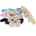 billiga Herraccessoarer-Katt Hund Halsband Justerbara / Infällbar Bergkristall Rosett PU läder Blå Rosa Brun