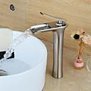 billige Baderomskraner-Baderom Sink Tappekran - Foss Nikkel Børstet Centersat Enkelt Håndtak Et HullBath Taps / Messing