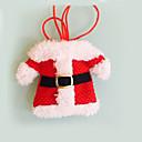 billiga Dekorationer-2 st julpynt lyckliga Santa silver innehavare fickor middag dekor festas