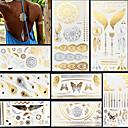 billiga tatuering klistermärken-8 pcs Metallisk Tatueringsklistermärken tillfälliga tatueringar Totemserier / Djurserier / Blomserier Vattentät / Blixt / Spets Body art Ansikte / händer /  Brachium / Glitter / Mönster / Kristall