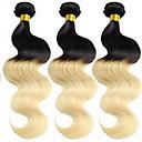 Χαμηλού Κόστους Εξτένσιος μαλλιών με ανταύγιες-3 δεσμίδες Βραζιλιάνικη Κυματομορφή Σώματος Κλασσικά Αγνή Τρίχα Ombre Υφάνσεις ανθρώπινα μαλλιών Επεκτάσεις ανθρώπινα μαλλιών