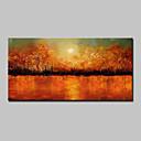 billige Abstrakte malerier-Hang malte oljemaleri Håndmalte - Abstrakt Landskap Blomstret / Botanisk Moderne Inkluder indre ramme