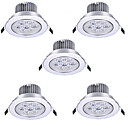 billiga Äkta peruker med hätta-HRY 5pcs 7 W LED-spotlights LED Ceilling Light Recessed Downlight 7 LED-pärlor Högeffekts-LED Dekorativ Varmvit Kallvit 85-265 V / RoHs / 90