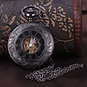 billiga Mekaniska klockor-Herr Fickur mekanisk klocka Automatisk självuppdragande Svart Ihålig Gravyr Ramtyp Lyx Steampunk - Svart