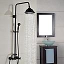 Χαμηλού Κόστους Βρύσες Ντουζιέρας-Βρύση Ντουζιέρας - Σύγχρονο Λαδωμένο Μπρούντζινο Αναμεικτικές με ενιαίες βαλβίδες Κεραμική Βαλβίδα Bath Shower Mixer Taps / Ορείχαλκος / Δύο λαβές δύο τρύπες