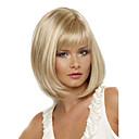 Χαμηλού Κόστους Συνθετικές περούκες χωρίς σκουφί-Συνθετικές Περούκες Ίσιο Ίσια Κούρεμα καρέ Με αφέλειες Περούκα Ξανθό Κοντό Ξανθό Συνθετικά μαλλιά Γυναικεία Ανθεκτικό στη Ζέστη Πλευρικό μέρος Ξανθό