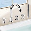 Χαμηλού Κόστους Βρύσες Μπανιέρας-Βρύση Μπανιέρας - Σύγχρονο Χρώμιο Ρωμαϊκή Μπανιέρα Κεραμική Βαλβίδα Bath Shower Mixer Taps / Τρεις λαβές πέντε τρύπες