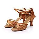 povoljno Ulošci i umetci-Žene Plesne cipele Saten Cipele za latino plesove / Cipele za salsu Kopča Sandale Potpetica po mjeri Moguće personalizirati Smeđa / Zlatna / Royal Blue / Koža / EU40
