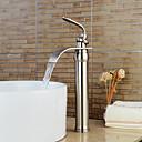 ราคาถูก วิกผมจริง-ก๊อกน้ำอ่างล้างจานห้องน้ำ - น้ำตก Nickel Brushed ตัวเจาะนำศูนย์ จับเดี่ยวหนึ่งหลุมBath Taps