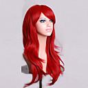 billiga Kostymperuk-Cosplay Peruker Syntetiska peruker Lockigt Naturligt vågigt Naturligt vågigt Asymmetrisk frisyr Peruk Mellan Lång Röd Syntetiskt hår Dam Naturlig hårlinje Röd