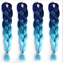 Χαμηλού Κόστους Πλεξούδες μαλλιών-Άλλα Ίσιο Συνθετικά μαλλιά 1,8 Μέτρο Hair Extension Εξτένσιον με Μικρούς Κρίκους Μαύρο Μπλε 1 Τεμάχιο Καμπύλη & ίσιωμα Γυναικεία Halloween Πάρτι / Βράδυ