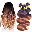 povoljno Perike s ljudskom kosom-3 paketa Brazilska kosa Tijelo Wave Virgin kosa Ombre 8-24 inch Isprepliće ljudske kose Proširenja ljudske kose / 10A