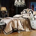 billige Luksuriøse dynetrekk-luksus dyne deksel sett silke bomull blanding jacquard 4 stk sengetøy sett