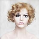 Χαμηλού Κόστους Συνθετικές περούκες χωρίς σκουφί-Συνθετικές Περούκες Κυματιστό / Βαθύ Κύμα Ξανθό Κούρεμα καρέ / Με αφέλειες Συνθετικά μαλλιά Φυσική γραμμή των μαλλιών Ξανθό Περούκα Γυναικεία Κοντό Χωρίς κάλυμμα