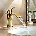 Χαμηλού Κόστους Βρύσες Νιπτήρα Μπάνιου-Art Deco / Ρετρό Αναμεικτικές με ενιαίες βαλβίδες Ενιαία Χειριστείτε μια τρύπα in Ti-PVD Μπάνιο βρύση νεροχύτη