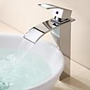ราคาถูก ก๊อกอ่างล้างหน้าในห้องน้ำ-ก๊อกน้ำอ่างล้างจานห้องน้ำ - น้ำตก มีสี ทรงกลม One Hole / จับเดี่ยวหนึ่งหลุมBath Taps